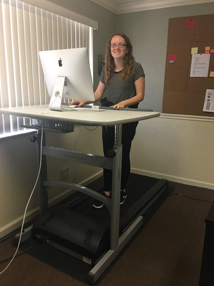 Rhiannon walking on treadmill desk