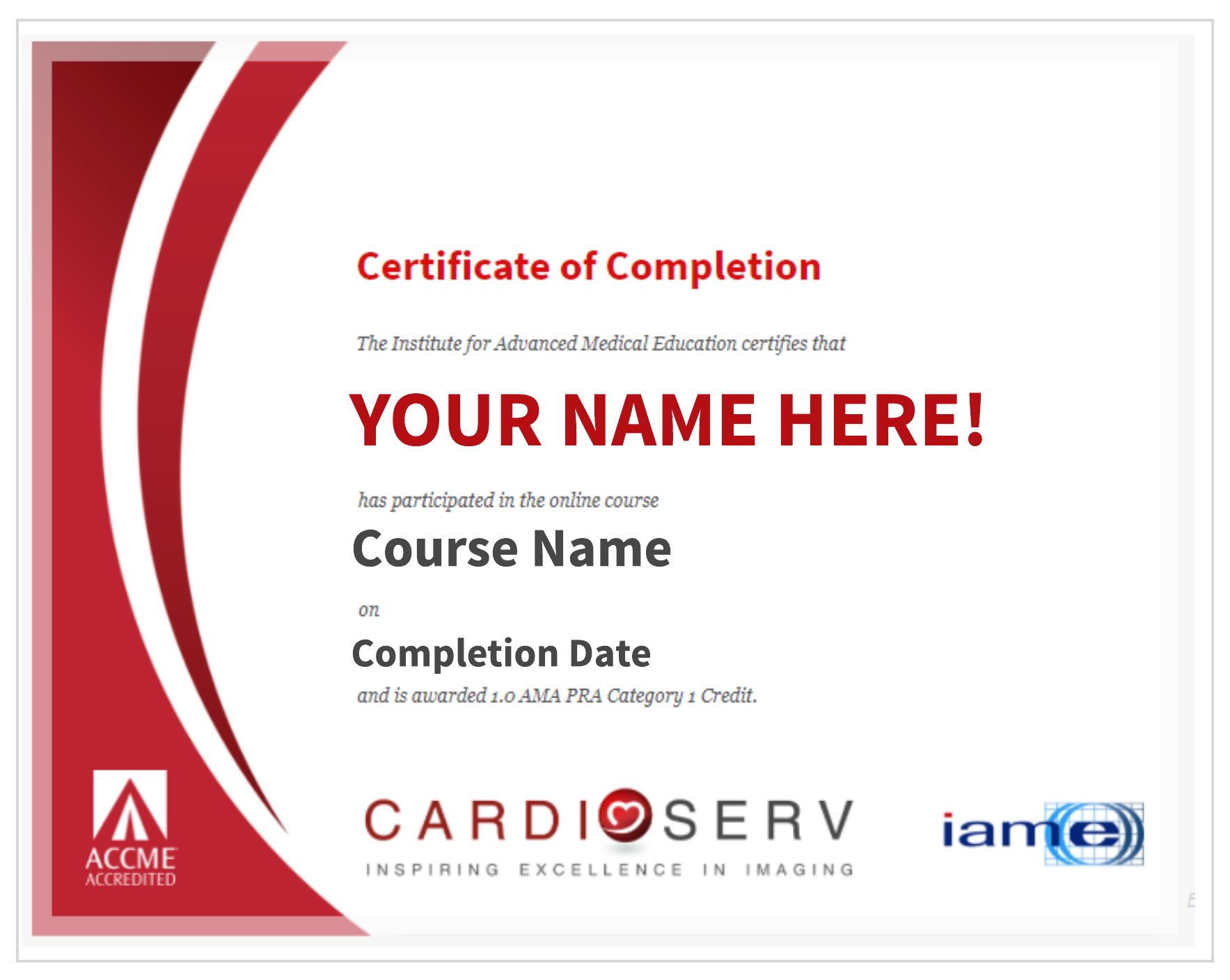 Category 1 AMA CME Certificate