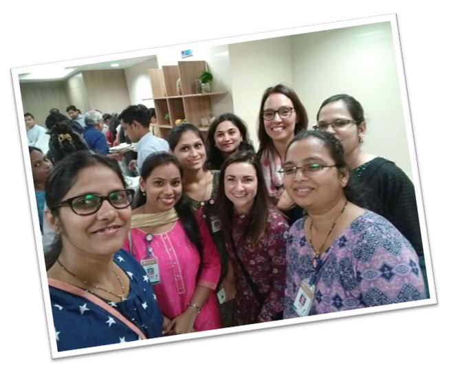 Group picture in India with girls from the hospital