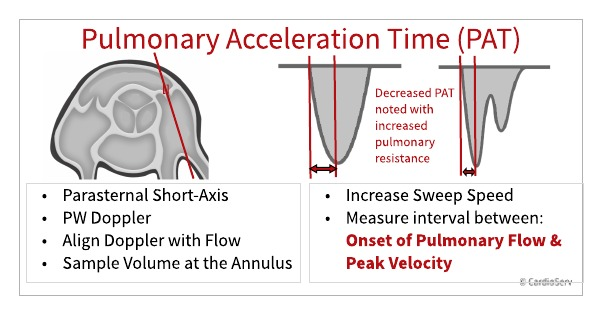 measure pulmonary acceleration time in parasternal short axis flow at the annulus of the PV using PW Doppler